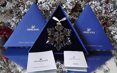 2016 Nib Swarovski Crystal Large Annual Christmas Ornament Snowflake #5180210