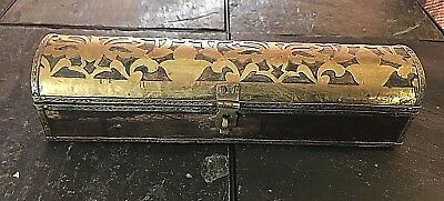 Antique Ornate Wood and Brass Box or Treasure Chest