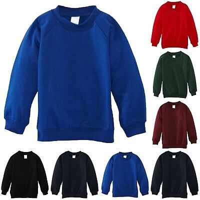 Unisex Kids Children School Uniform Plain Fleece Sweat Jumper Pullover