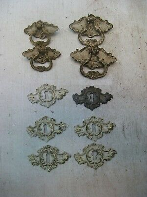 Lot Of Vintage Drawer Pulls And 6 Key Escutcheons-Brass