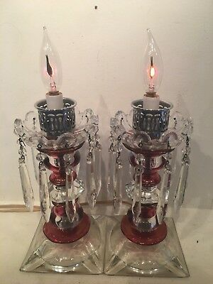 """Pair Of Vintage Antique Stained And Cut Glass Boudoir Lamps With 10 Prisms 13"""""""