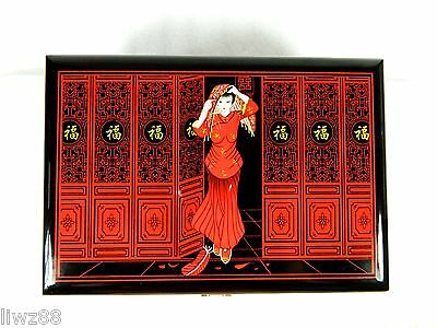 Cosmetic Trinket Jewelry Box Case,Chinese Lacquerware,Hand Work,Bride Pattern