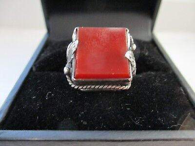 Vintage Sterling Silver Art Deco Carnelian Square Ring