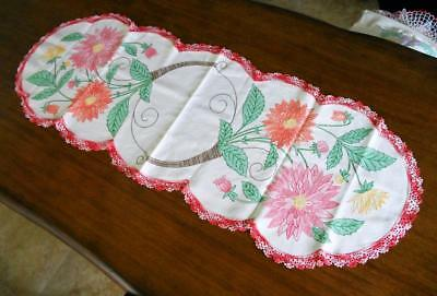 Stunning Vtg Embroidered Art Nouveau Deco Floral Huck Linen Table Runner Scarf