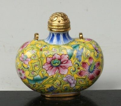 Chinese Exquisite Handmade flowers pattern Cloisonne snuff bottle
