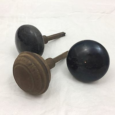 Lot Of 3 Vintage Antique Doorknobs-2 Shiny Black & Rusty Metal Door Knobs-Look!