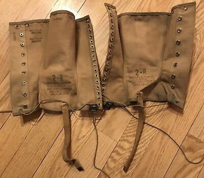 Pair Of Vintage Wwii Half Chaps Stamped W/ Manufacturer, Soldier Name & Serial #