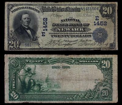 $20 National Bank Note-Nat'l State Bank Newark, NJ-2nd Series 1902 Charter E1452
