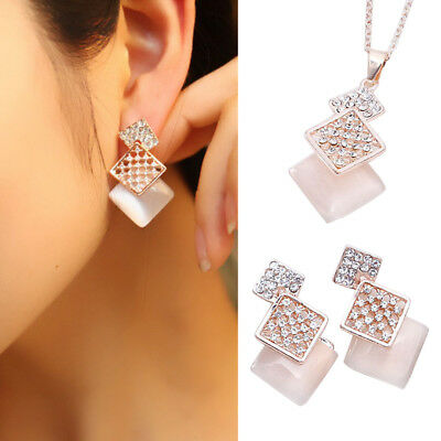 Women Rhinestone Opal Squares Pendant Chain Necklace Earrings Jewelry Set Latest