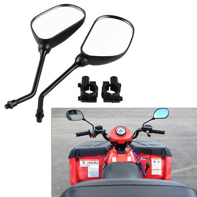 "Universal ATV Left Right Rear View Mirror & 7/8"" M8 Handlebar Mirror Mount Set"