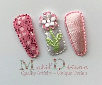 Baby Girls Non Slip Hair Clips Bow ~ 3 cm Snap Clips ~ Set of 3 Cherry Blossom