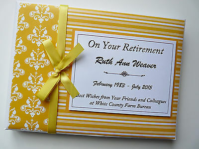 Personalised Yellow Retirement/wedding/gift Guest Book - Any Colour