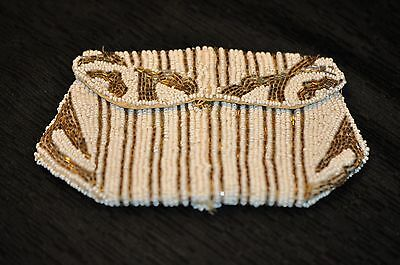 VINTAGE Beaded Coin Purse White & Silver w/ belt strap hoop Made in Belgium