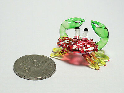 Tiny Handcrafted MINIATURE HAND BLOWN GLASS Red Crab FIGURINE Ornaments