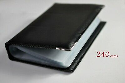 Black Faux Leather 120 Bank Cards Card  Business Name Holder Wallet Organizer