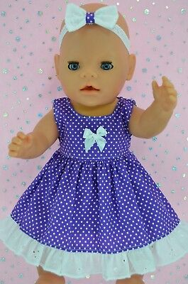 "Play n Wear Doll Clothes To Fit 17"" Baby Born PURPLE POLKA DOT DRESS~HEADBAND"