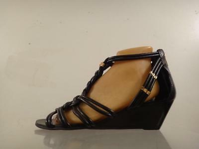 46d667517bdaa New TORY BURCH  Constance  Black Knotted Leather Wedge Sandals Shoes Size  10.5 M