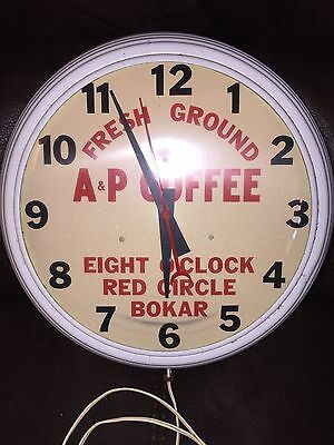 A&P Coffee Electric Wall Clock - Model No 1 - Vintage 1930's