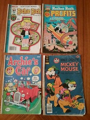 Lot of 4 Mixed Vintage 1970s Comics: Archie's Car, Richie Rich, Richie Rich...