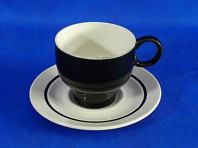 J&G Meakin White Black 1 Cup 1 Saucer Coffee Tea Ironstone England Excellent