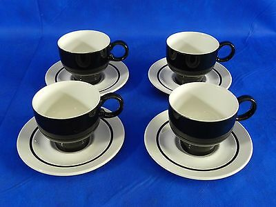 J&G Meakin White Black 4 Cups 4 Saucers Coffee Tea Set Ironstone England Excell.
