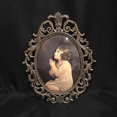 Vintage Ornate Brass Metal Oval Convex bubble glass Picture Frame Child Praying