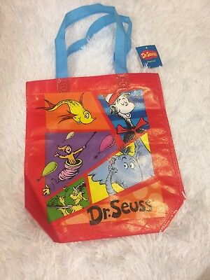 NEW Dr. Seuss Red Vinyl Character Tote Bag Reusable Cute Tote Party Purse Kids