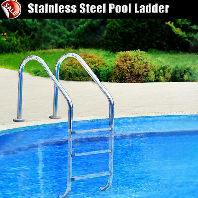 Heavy-duty In-Ground Stainless Steel Pool Ladder 3 Non-slip Steps up to 110kg