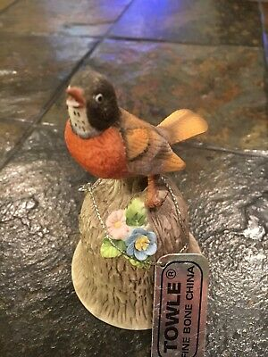 Vintage Towle Fine Bone China Bird Bell ~ Robin On A Wood Textured Bell