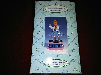 "Madame Alexander resin doll music box, clock ""1950 Sock Hop"" #90755 poodle skirt"