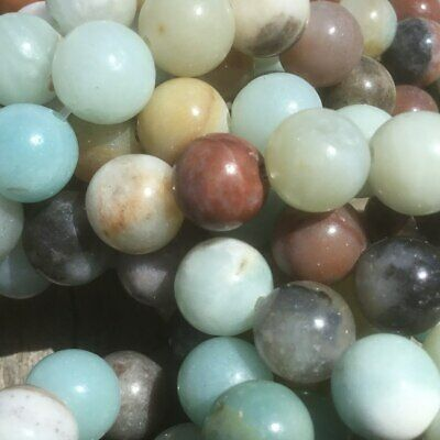 "8mm Natural Rainbow Amazonite Round Beads 15"" Strand Oz Seller"