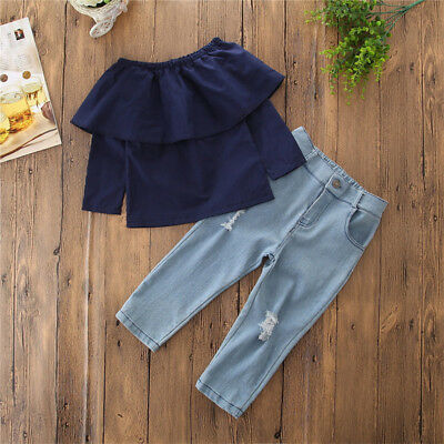 USA Toddler Kids Baby Girl Off Shoulder Tops Denim Hot Pants Outfits Set Clothes