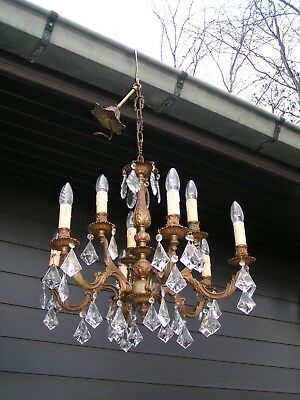 && Fantastic and fine ornated vintage 9 lt chandelier  with masses of drops &&