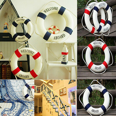 New Lifebuoy Welcome Aboard Nautical Life Ring Boat Wall Hanging Home Decoration