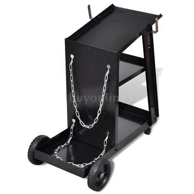 Welding Cart Black Trolley with 3 Shelves Workshop Organiser D4O7
