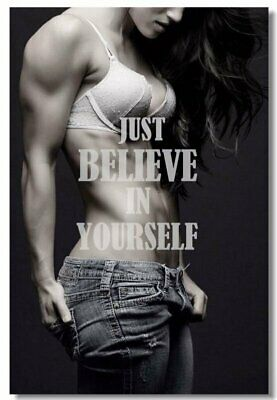 Poster Fitness Workout Quotes Motivational Inspiration Muscle Gym Font Print 028