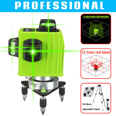 3D 12 Line Laser Level Self Leveling Vertical&Horizontal 360° Cross Measure Tool