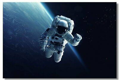 Poster Astronaut on the Moon Earth Planet A Men Drink Beer USA Flag Print 08