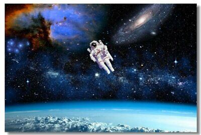 Poster Astronaut on the Moon Earth Planet A Men Drink Beer USA Flag Print 07