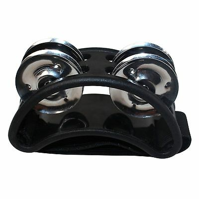 Percussion Foot Tambourine with Metal Jingles, Black I4Z1