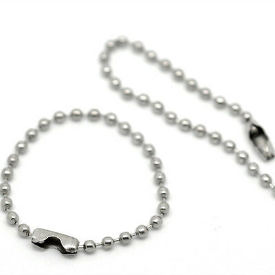 Short Ball Chains With Connector Clasp Key Chain Tag Chain Silver Tone 10cm 12cm