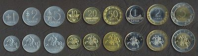 LITHUANIA COMPLETE FULL COIN SET 1+2+5+10+20+50 Centu +1+2+5 Litai UNC LOT of 9
