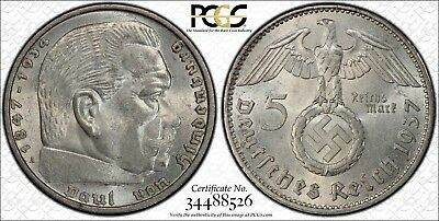 1937-A Germany Third Reich 5 Mark PCGS MS63