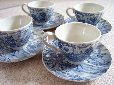 England Staffordshire blue and white  porcelain tea set ,4 cups and 4 saucers