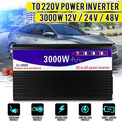3000W Pure Sine Wave Power Inverter Dual LED Digital Display 12V/24V/48V to 220V