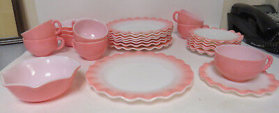 "Hazel Atlas Milk glass Crinoline Ripple Pink 9"" plates cups saucers fruit bowls"