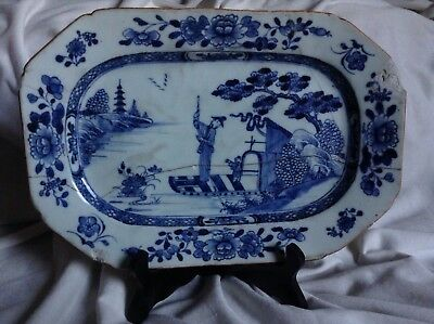 Qianlong Kangxi Antique Chinese Blue Handpainted Porcelain Tile Plate Tray Rare