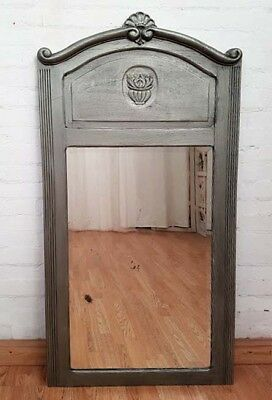 Charming Large Antique French Art Deco Silver Mirror - C1930