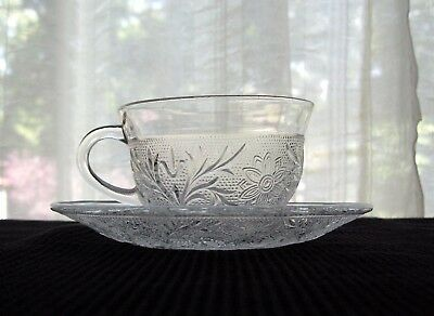 Anchor Hocking Glass Clear Sandwich 8 ounce Cup & Saucer Under Plate Set