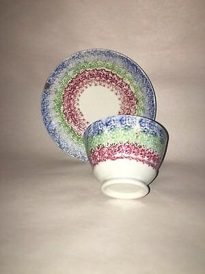 Staffordshire Spatterware Rainbow Spatter Cup And Saucer Rare 1835 Pearlware